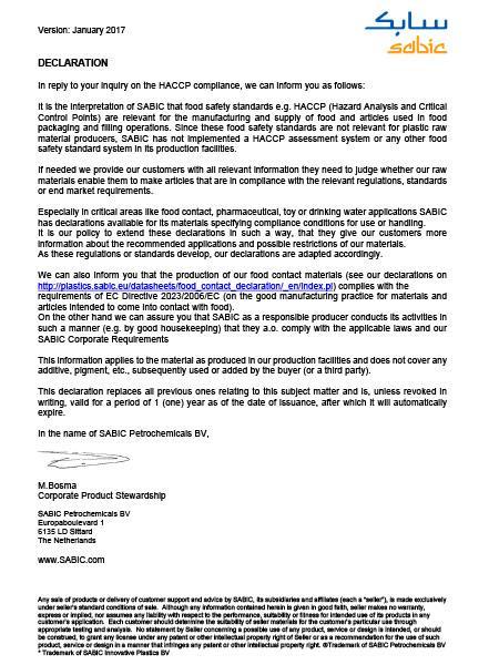 HACCP-declaration
